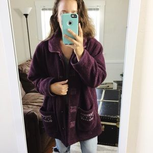 Vintage   Cozy Purple Oversized Sherpa Teddy Coat